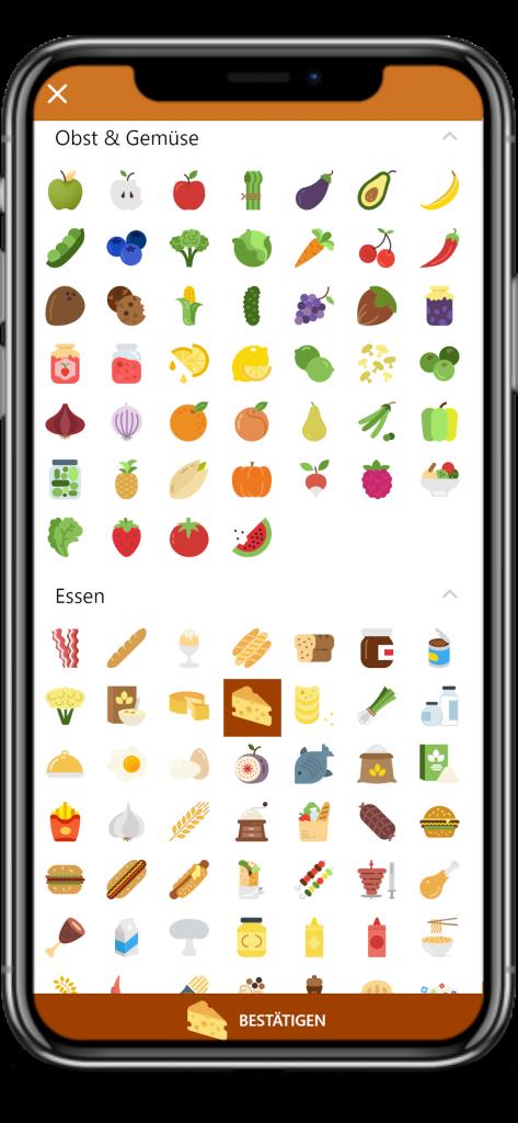 Digitale Speisekarte über 350 Icons
